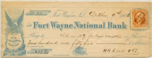 The Fort Wayne National Bank. October 9, 1865 $255 Check