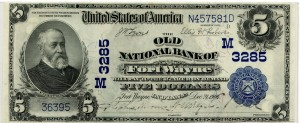 The Old National Bank of Fort Wayne. 1902 Plain Back $5 Charter #3285M