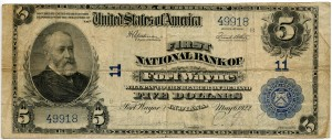 The First National Bank of Fort Wayne. 1922 Plain Back $5 Note Charter #11