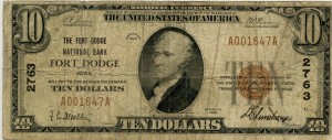The Fort Dodge National Bank. 1929 Type 1 $10 Note Charter #2763