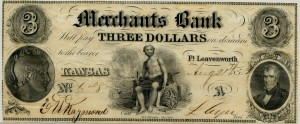 Merchants Bank. $3 Note Aug. 21, 1854