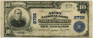 The Army National Bank of Fort Leavenworth. 1902 Plain Back $10 Note Charter #8796