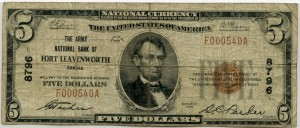 The Army National Bank of Fort Leavenworth. 1929 Type 1 $5 Note Charter #8796