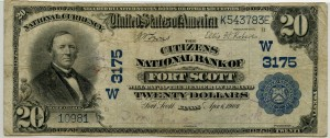 The Citizens National Bank of Fort Scott. 1902 Plain Back $20 Note Charter #3175W