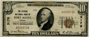 The Citizens National Bank of Fort Scott. 1929 Type 1 $10 Note Charter #3175