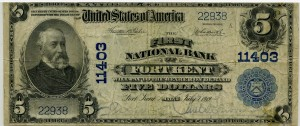 The First National Bank of Fort Kent. 1902 Plain Back $5 Note Charter #11403
