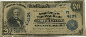 The Stockmen's National Bank of Fort Benton. 1902 Plain Back $20 Note Charter #4194W