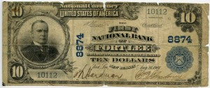 The First National Bank of Fort Lee. 1902 Plain Back $10 Note Charter #8874