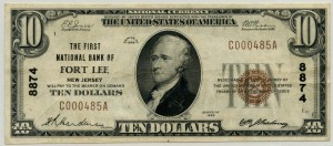 The First National Bank of Fort Lee. 1929 Type 1 $10 Note Charter #8874