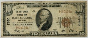The Fort Edward National Bank 1929 Type 1 $10 Note Charter #7630