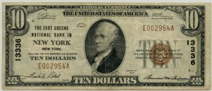 The Fort Greene National Bank 1929 Type 1 $10 Note Charter #13336