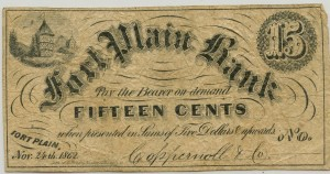 Fort Plain Bank .15 Cent Noted Dated 1862
