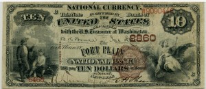 The Fort Plain National Bank. 1882 Brown Back $10 Note. Charter #2860