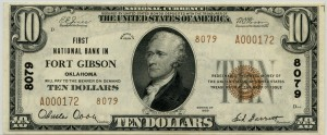 First National Bank in Fort Gibson. 1929 Type 2 $10 Note Charter #8079