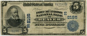 The Fort McIntosh National Bank of Beaver, PA. 1902 Plain Back $5 Note Charter #8185