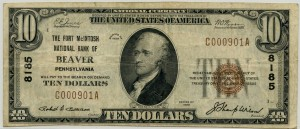The Fort McIntosh National Bank of Beaver, PA. 1929 Type 1 $10 Note Charter #8185