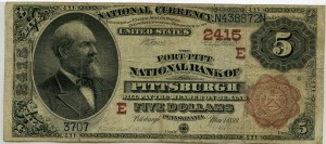 Fort Pitt National Bank of Pittsburgh. 1882 Brown Back $5 Note Charter #2415E