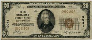 The First National Bank of Fort Mill South Carolina. 1929 Type 1 $20 Note Charter #9941