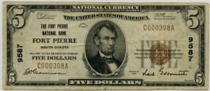 The Fort Pierre National Bank. 1929 Type 1 $5 Note Charter #9587