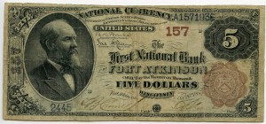 The First National Bank of Fort Atkinson. 1882 Brown Back $5 Note Charter #157