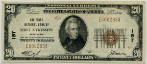 The First National Bank of Fort Atkinson. 1929 Type 1 $20 Note Charter #157
