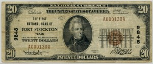 The First National Bank of Fort Stockton. 1929 Type 1 $20 Note Charter #9848
