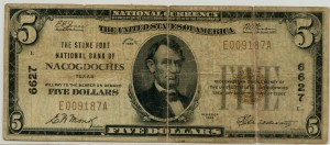 The Stone Fort National Bank of Nacogdoches. 1929 Type 1 $5 Note Charter #6627