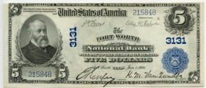The Fort Worth National Bank. 1902 Plain Back $5 Note Charter #3131