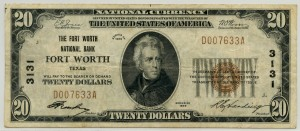 The Fort Worth National Bank. 1929 Type 1 $20 Note Charter #3131